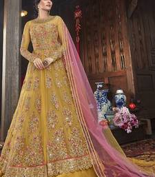Yellow Embroidered Net Semi Stitched Salwar With Dupatta