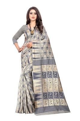 Navy blue woven cotton silk saree with blouse