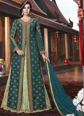 green embroidered silk blend semi stitched salwar with dupatta