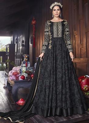 black embroidered organza semi stitched salwar with dupatta