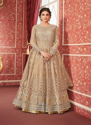 Tan embroidered net salwar