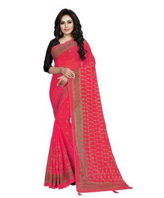 magenta printed chiffon saree with blouse