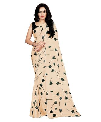 cream printed silk blend saree with blouse