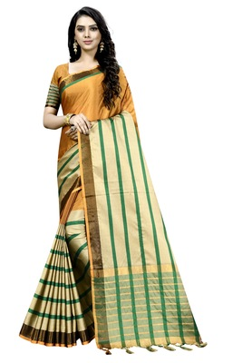 mustard plain cotton saree with blouse