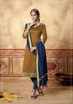 Brown fancy banarasi silk salwar