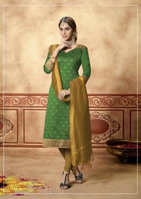 Green fancy banarasi silk salwar