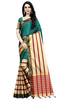 green plain cotton saree with blouse