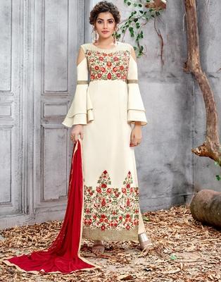 Off-white embroidered chiffon salwar