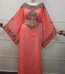 Peach  Zari Work Chiffon Polyester Islamic Party Wear Festive Kaftan