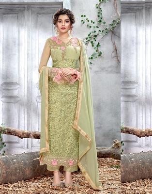Light-green embroidered chiffon salwar