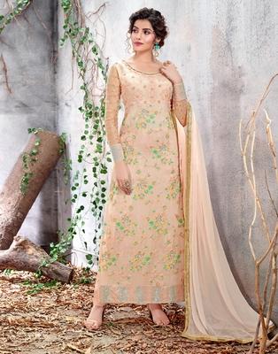 Light-brown embroidered chiffon salwar