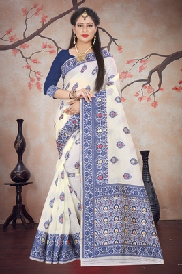 Royal blue woven cotton silk saree with blouse