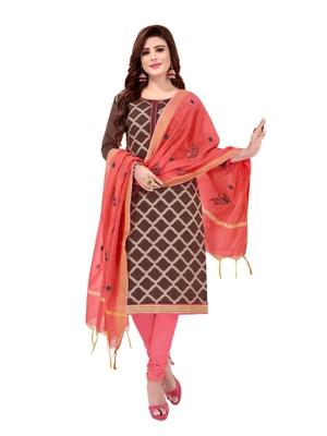 Brown Woven Jacquard Salwar