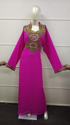 Wine Zari Work Chiffon Polyester Islamic Party Wear Festive Kaftan