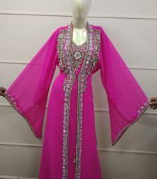 Pink Zari Work Chiffon Polyester Islamic Party Wear Festive Kaftan Jacket