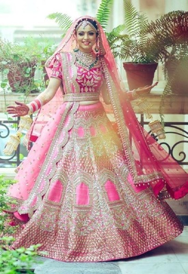 Pink embroidered cotton semi stitched lehenga