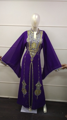 Purple Zari Work Chiffon Polyester Islamic Party Wear Festive Kaftan Jacket