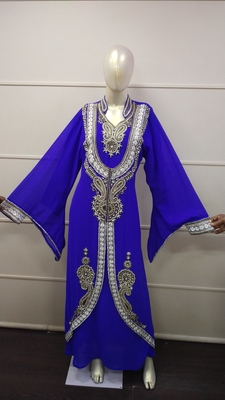 Blue Zari Work Chiffon Polyester Islamic Party Wear Festive Kaftan Jacket