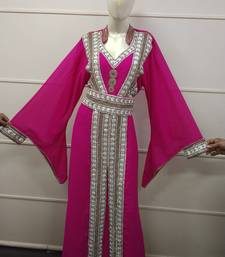 Rani Zari Work Chiffon Polyester Islamic Party Wear Festive Kaftan Jacket