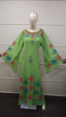 Green Zari Work Chiffon Polyester Islamic Party Wear Festive Kaftan