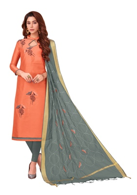 Peach embroidered cotton salwar