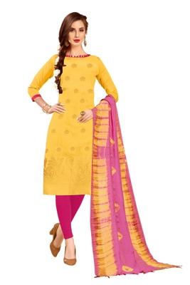Yellow woven jacquard salwar