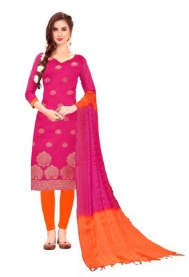 Pink woven jacquard salwar