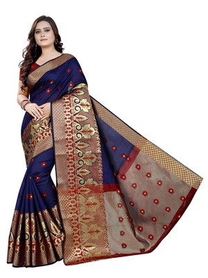 Navy blue woven cotton poly saree with blouse