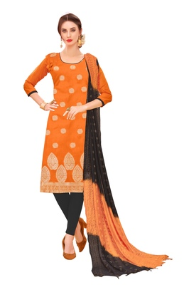 Orange woven jacquard salwar