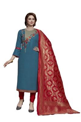 Blue embroidered cotton salwar