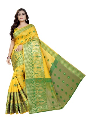 Yellow woven cotton poly saree with blouse