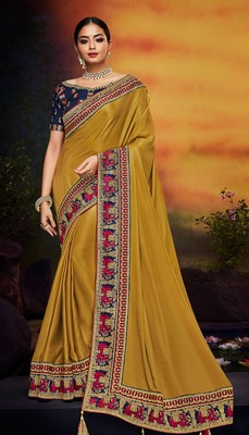 Antique gold embroidered satin saree with blouse