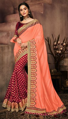 Light orange embroidered satin saree with blouse