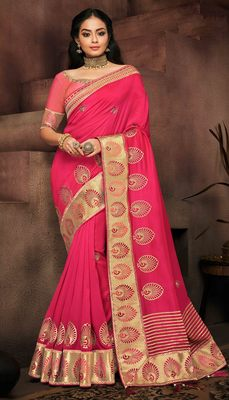 Rani pink embroidered satin saree with blouse