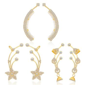 Gold diamond ear-cuffs