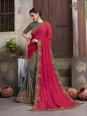 Rani pink embroidered georgette saree with blouse