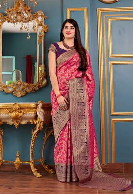 Rani Pink Woven Banarasi Silk Saree With Blouse
