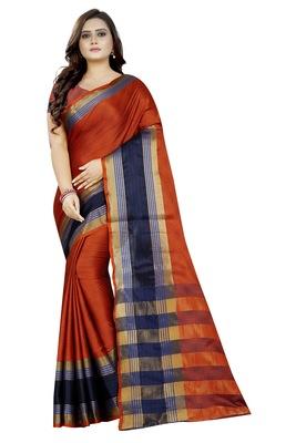 Orange woven cotton poly saree with blouse