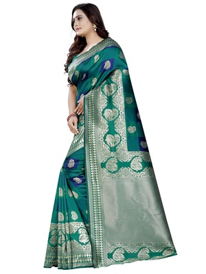 Turquoise woven cotton poly saree with blouse
