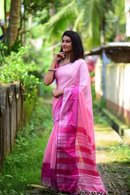 pink color cotton linen saree