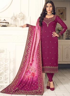 purple embroidered georgette semi stitched salwar with dupatta