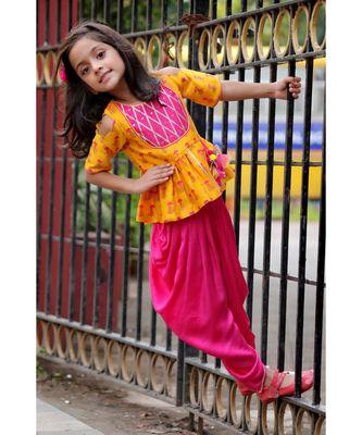 Slit Peplum Top with Dhoti - Yellow & Fuchsia Pink