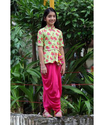 Tulip-print band-gala peplum top with dhoti - Light Green & Fuchsia Pink