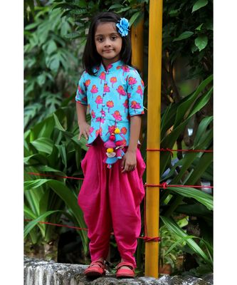 Tulip-print band-gala peplum top with dhoti - Blue & Fuchsia Pink