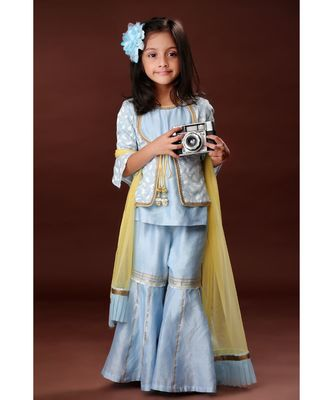 Elegant Sharara with Attached Jacket Top - Hue of Blue