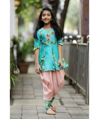 Stylish Printed-and-Decorated Top with Dhoti - Teal & Peach