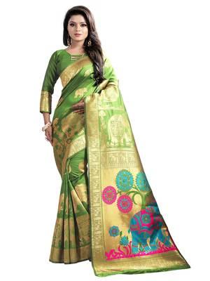 mahendi woven banarasi saree with blouse