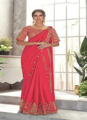 hot pink embroidered silk saree with blouse