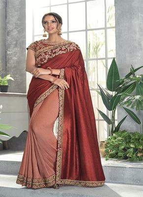 Rust embroidered silk saree with blouse