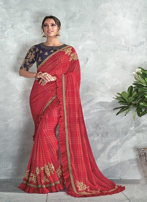 scarlet red embroidered silk saree with blouse